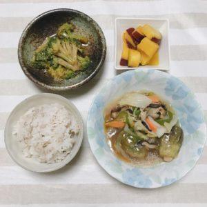 大阪泉州産水茄子入り八宝菜・ブロッコリーの中華風お浸し・さつま芋レモン煮